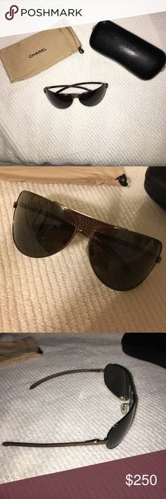 CHANEL aviator sunglasses Chanel sunglasses. Dark Brown lens. With original box and bag and price sticker. CHANEL Accessories Glasses