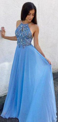Unique A-Line Keyhole Blue Chiffon Long Prom Dress with Beading #blue #chiffon #beading #long #prom #okdresses