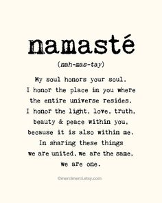 Large Namaste Poster - 16x20 inches on A2. Inspiring quote typography art poster print. on Etsy, $60.66