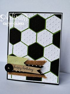 Thursday, 26 September  In The Cat Cave: Happy Birthday Husband! | soccer ball |  To make the card, simply punch out the hexagons using the new Stampin' Up! punch. The background is gumball green cardstock with the perfect polka dots embossing folder.