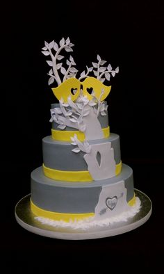 Yellow Birds Wedding Cake ~ beautiful!