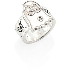 Gucci GucciGhost Sterling Silver Ghost Ring ($232) ❤ liked on Polyvore featuring jewelry, rings, fine jewelry - gucci jewelry, silver, sterling silver jewellery, sterling silver jewelry, fine jewellery, sterling silver rings and fine jewelry