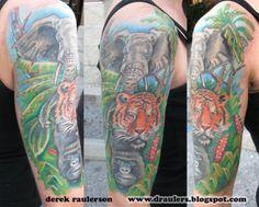 jungle half sleeve by derek raulerson  mike parsons ink