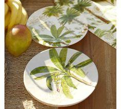 Melamine plates - tropical palms.   Love...