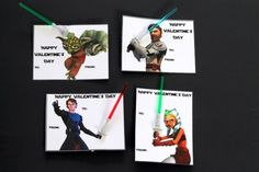 Star Wars Printable Valentines. Any Star Wars fan is going to love these printable valentines. Add a light saber pick or a pencil to complete these fun Clone Wars Valentines.