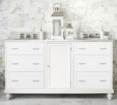 Classic Modular Double Sink Console with Drawers & Wood Door Storage #potterybarn