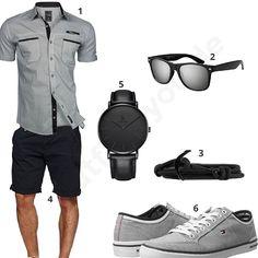 Grau-Schwarzer Look mit coolem Kurzarmhemd (m0443)