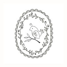 Embroidery pattern of a bird, sitting on a branch surrounded by a frame of leafy vines and scallops.    This is a digital file to be