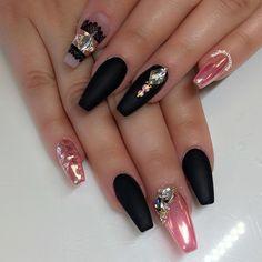 Matte black, pink chrome nail art