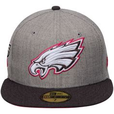 b7b760e2843 Men s Philadelphia Eagles New Era Gray Graphite Breast Cancer Awareness  On-Field 59FIFTY Fitted Hat