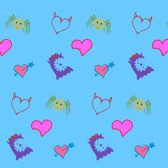 monsters on blue fabric by maga2mars on Spoonflower - custom fabric