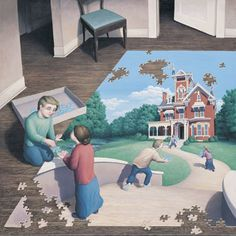 Giclee on Canvas 'Unfinished Puzzle' surrealist art by artist Rob Gonsalves