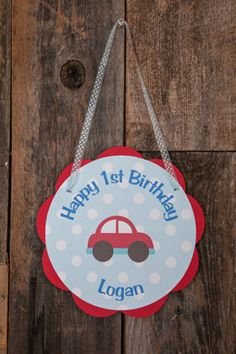 Cars Door Sign Birthday Party - Red & Blue