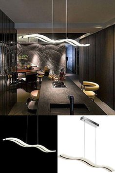 ICYMI: Modern Dimmable Ceiling Chandelier Wave Design LED Modern Hanging Remote Control