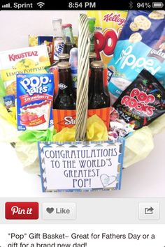 """Pop"" themed basket-- Father's day, new parent"