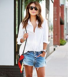 White button down, maybe w/ boyfriend shorts and either minimalist or fun accessories