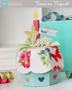 Altered Art/Home Decor: Die Cut Cupcake Box by Tamara Tripodi 3d Birthday Cake, Birthday Box, Cupcake Boxes, Paper Cupcake, Fun Crafts, Paper Crafts, Echo Park Paper, Giant Flowers, Crafty Projects