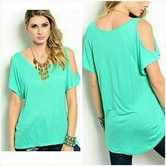 Short sleeve cold shoulder top Size Small NWT Trendy green short sleeve cold shoulder top. Super soft rayon. Not sheer or see through. Size Small. Fits ladies 5/6. Brand new with tag. Jill Marie Boutique Tops Blouses