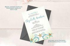 Bridal Shower Invitation Photoshop Template #bridalshower #beachbridalshower #starfish #oceanwedding #destinationwedding #beachwedding #blueandcopper #beachweddingtheme #bridalshowerinvitation #invitationtemplate