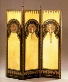 Carlo Bugatti (1856-1940) - Folding Screen. Wood, Painted Vellum, Bronze and Silk Tassles. Circa 1900.