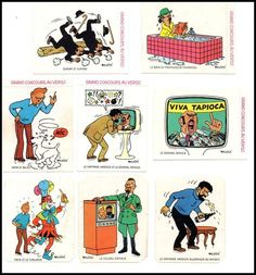 Collection d'autocollants TINTIN Vache qui rit de 1976. Ma collection s'agrandit ! plus que 4! ::