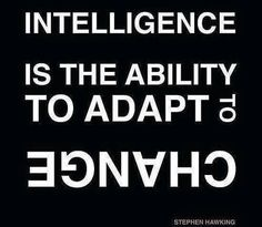 Stephen Hawking quote:  Intelligence is the ability to adapt to CHANGE
