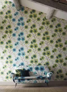 Buy Gooseberry, 111082 Harlequin Floral Kabala Wallpaper from our Wallpaper range at John Lewis & Partners. Harlequin Wallpaper, Green Wallpaper, Pattern Wallpaper, Kitchen Wallpaper, Fabric Wallpaper, Motif Floral, Floral Fabric, Bleu Cyan, 1970s