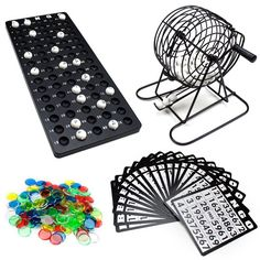 Bingo Game Complete Set Cage Balls Cards Markers Board Kit Family Fun Night NEW #Brybelly