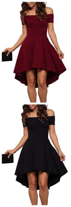 Sexy Off Shoulder Irregular Hem Dress