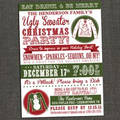 Ugly Sweater Party Free Printable Ugliest Christmas Sweaters And Free - Ugly sweater christmas party invitations template