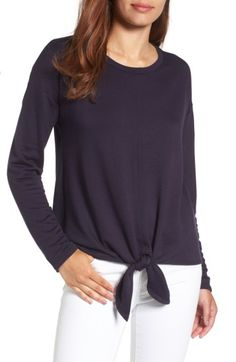 Free shipping and returns on Bobeau Tie Front Sweatshirt (Regular & Petite) at Nordstrom.com. Make any day Saturday-level awesome by slipping into this super-cozy pullover in a slouchy cut gathered to a knotted hem.