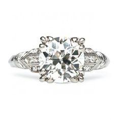 Regents Park is a classic Art Deco engagement ring centering a 2.00ct Old European cut diamond in a triple talon prong setting. Amazing! TrumpetandHorn.com