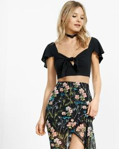 tie front ruffle sleeve cropped top from EXPRESS