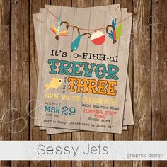 o-FISH-al Fishing Fisherman Birthday Invitation by sessyjets