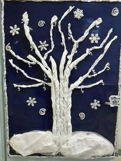 Winter scene with snow. Winter Art Projects, Winter Project, Winter Crafts For Kids, Winter Kids, Winter Christmas, Art Activities For Kids, Winter Activities, Art For Kids, Preschool Christmas Crafts
