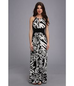 London Times Printed MJ Maxi with Solid Panel Dress Black/White - 6pm.com