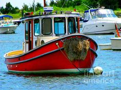 Red Tugboat Photograph - Red Tugboat Fine Art Print