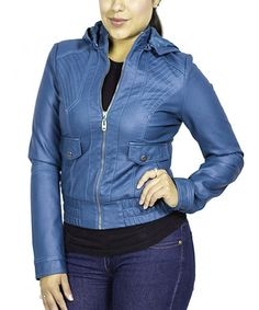 Take a look at this Blue Hooded Motorcycle Jacket - Women by Downtown Coalition on #zulily today!