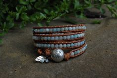 4x Faceted Amazonite Gemstone Wrap Bracelet with Adjustable OM Button Closure and Leaf Accent by KyaraCreations on Etsy Wrap Bracelets, Jewerly, Om, Closure, Gemstones, Beads, Button, Trending Outfits, Unique Jewelry