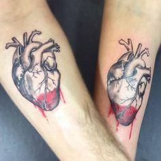 Matching Anatomical Heart Tattoos by Aleksandra Stojanoska
