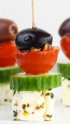 Greek Salad Skewers ~ This super easy appetizer tastes just like a Greek salad on a stick.:
