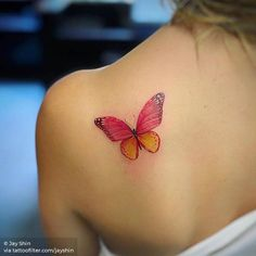 Red butterfly tattoo on the left shoulder blade. Butterfly Tattoo Cover Up, Butterfly Tattoo On Shoulder, Butterfly Tattoos For Women, Butterfly Tattoo Designs, Red Butterfly, Tattoo Designs For Women, Tattoo Shoulder, Red Ink Tattoos, Cover Up Tattoos