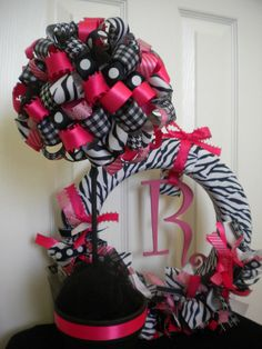 Ribbon Topiary in Zebra Black & Pink for baby shower by DaisyTags, $36.00