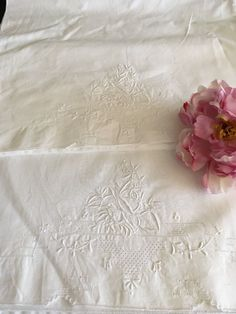 Vintage Embroidered Irish Linen Pillow Case Pair