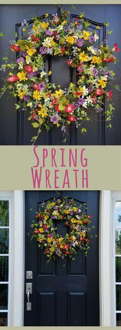 Spring Wreath, Easter Wreath, Front Door Wreaths, Spring Wreaths for Front Door, Yellow Daisy Wreath, Red Petunias, Purple Flower Wreaths, Porch decor, home decor #ad
