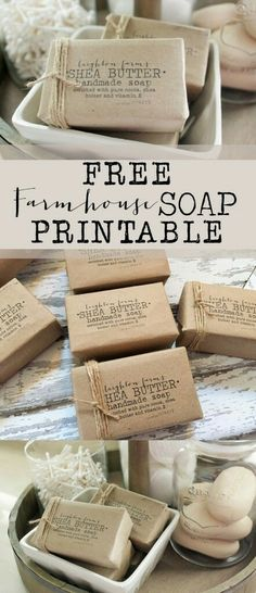 FREE Farmhouse Soap Printable - House of Hargrove Make your own farmhouse/vintage soap label with this free printable! Soap is from the dollar store! Super cute and easy project (Diy Ideas Dollar Stores) Homemade Soap Recipes, Homemade Gifts, Bath Recipes, Homemade Paint, Homemade Dog, Easy Gifts, Savon Soap, Bath Soap, Bath Salts
