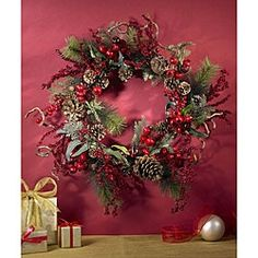 Assorted Berry 24-inch Wreath | Overstock.com Shopping - The Best Deals on Silk Plants
