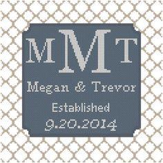 Mr & Mrs Cross Stitch Pattern, Mr and Mrs Wedding Cross Stitch ...