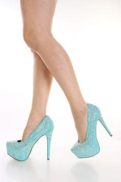 Mint Studded Pump Heels