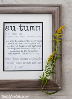 Free Fall Printable - Autumn definition print perfect for decorating your house for fall.